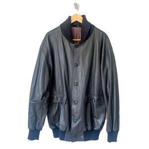 Custom Gray Leather Flight Bomber Jacket